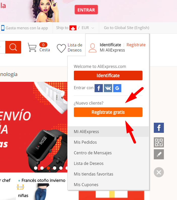 registrarse en AliExpress desde Colombia